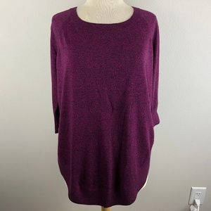 Express 3/4 Sleeve Tunic Sweater Size S Pink Black